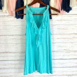 Lilly Pulitzer blue ruffle tank top